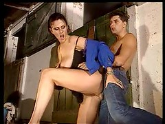 Horse stables sex with hot babe and stud