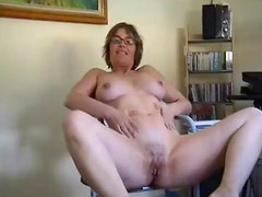 Mature in glasses teases and takes bone