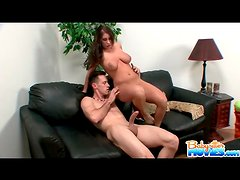 Big boobs girl with a big ass sits on his dick