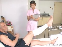 Japanese nurse sits on guy's face and rides his dick