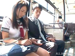 Asian girl in school uniform gets nailed in a bus