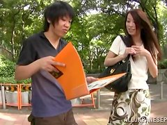 Slim and pretty Japanese girl gets toyed in a car