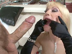 Deepthroat sloppy blowjob by naughty light haired whore