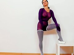 Ample breasted hussy Winnie rides dildo in pantyhose costume