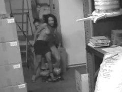 Warehouse sex with a skinny babe