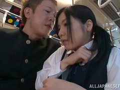 Japanese cutie Airi Minami gets fucked by a stranger in a train