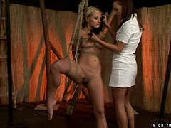 Sex slave Szilvia loves getting pain in her tits and pussy