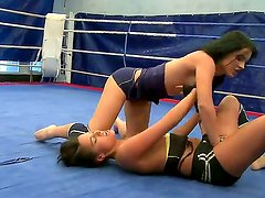 Sexy boxing babes get into an erotic nude