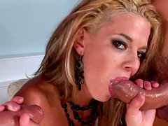 Blonde Chloe Delaure sucks two tasty dicks
