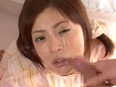 Japanese wife blows and gets loads of cum on her cute face