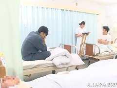 Japanese nurse gets fucked and facialed in a hospital