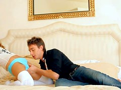 Arousing slender teen brunette Anjelica with small titties and pretty