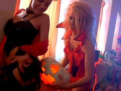 Sizzling Russian hussies get oral caressed during insane Halloween party