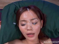Cute Emiri Okazaki gets massive facial after vaginal sex