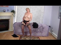 Mature blonde dances and strips