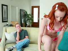Sexy redhead babe Dani Jensen gets her tasty pussy licked properly