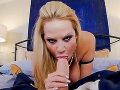 Kelly Madison lets her huge real tits bounce as she rides this monster cock