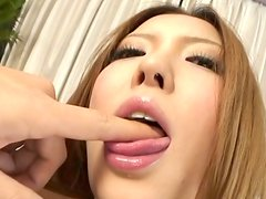 Kawaii Japanese Riana Natsukawa with nice tits desires to get her fluffy pussy rubbed