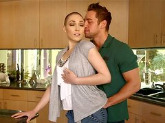 Bald headed  girlfriend Lily LaBeau gives her lover blowjob
