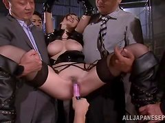 Julia gets tied up and mouth-fucked by a few horny dudes