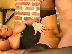 Curvy blonde milf moans during hardcore sex