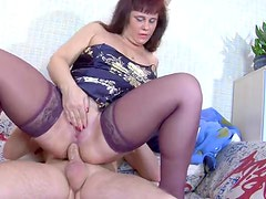 He wakes up mature with cock in her ass