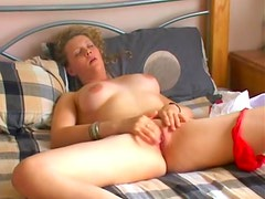 Girl strips slow and masturbates her clit