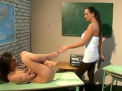 Hot and evil mistress Mandy Bright is punishing her sexy slave Bambi for her bad behavior, she is