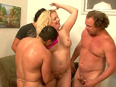 Chubby blonde mom is banged bad in a hardcore gangbang