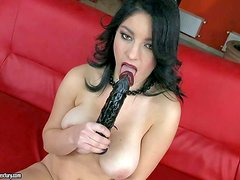 Nanny is a black haired juicy woman that shows off