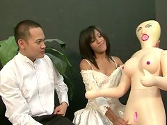 Amazing brunette bride with cute tits desires to be fed with delicious gooey cum
