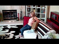 Solo gal strips off jeans and panties