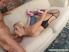 Messy gagging blowjob and cumshot in her mouth