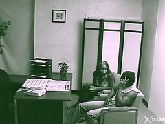 Blowjob for her boyfriend in back office of bank