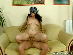 long haired fat brunette granny with hanging knockers under kinky