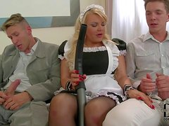 Tiffany Kingston is s playful blond- haired maid the does