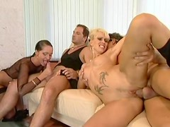 All holes fucking in a lusty lady foursome video