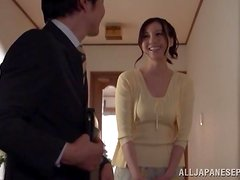 Yui Tatsumi the sexy bride gives a blowjob to her fiance