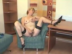 Mature striptease and hairy pussy masturbation