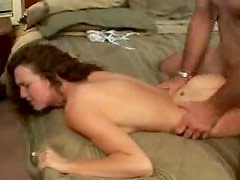 Curly hair girl gets a hot creampie