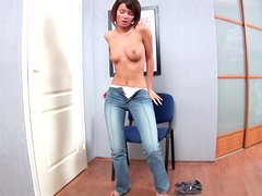 Era takes off her tight jeans and fucks herself with a huge toy