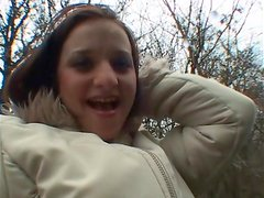 Slutty girl gives hot blowjob and gets fucked outdoors