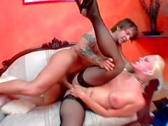 Slut in heels and stockings spreads legs for anal