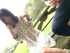 Skinny Mikako Abe gets threesomed in a restroom