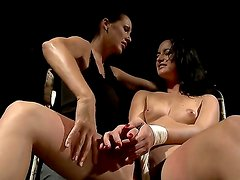 Brunette cute babe Barbie Pink gets tied and