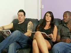 Lewd talkative brunette seduces several dudes for giving them stout blowjobs