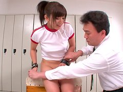 Aroused fucker drills bushy twat of Aika Hoshino with dildo