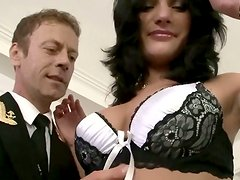 Incredibly beautiful and seductive girls are sucking captain's cock deepthroat