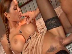 Ultra hot pigtailed Italian chick nailed