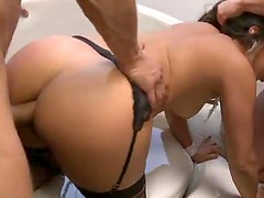 Glamorous Laurie Vargas in threesome with DP